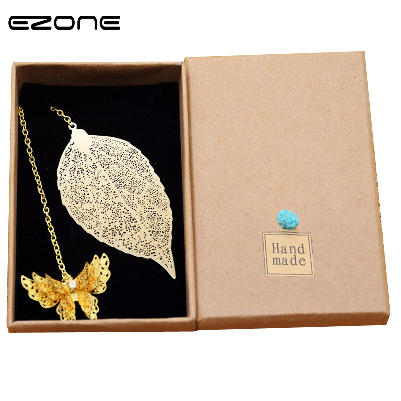 Ezone Beautiful Butterfly Creative Feather Metal Veins Bookmarks Gift Butterfly Leaf Stationery Gift School Supplies Stationery