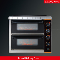 commercial kitchen bakery equipment machine 2 deck 54L capacity electric pizza bread baking oven 220V mechanical timer control
