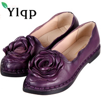 Women Genuine Leather Flat Shoes Woman Loafers 2017 New Summer Fashion Women Casual Handmade Flower Woman