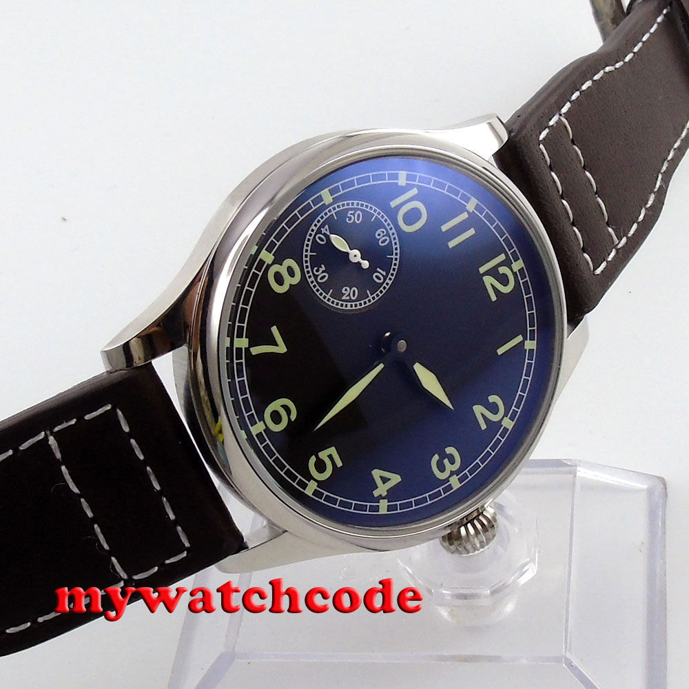 44mm parnis black dial 6497 movement leather strap hand winding mens watch P361 цены онлайн