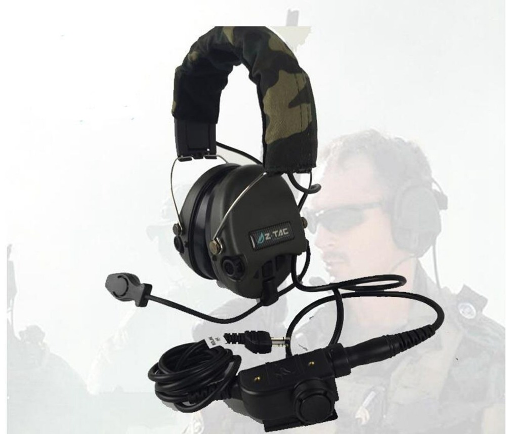 Hunting Tactical Headset Airsoft Camouflage Military Standard Headset Noise Canceling Aviation Walkie Talkie Helmet Z111 sw5888 protective abs tactical cycling wild gaming helmet camouflage yellow black
