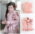 Winter Girls Faux Fur Patchwork Vest Bow Tie Thicken Waistcoat Ruffles Pink Coat Children's Down Vest For Kids Outerwear Baby