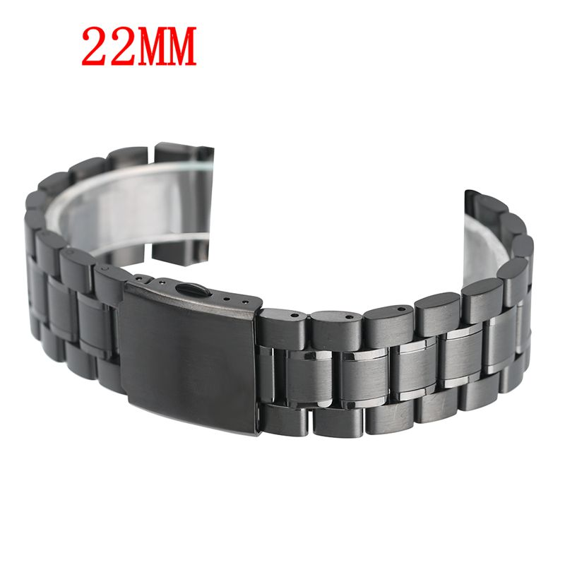 Black Watch Band 22mm Replacement High Quality Watchband Strap Stainless Steel Solid + 2 Spring Bars Luxury Barcelet Adjustable вытяжка konigin infanta 60 b