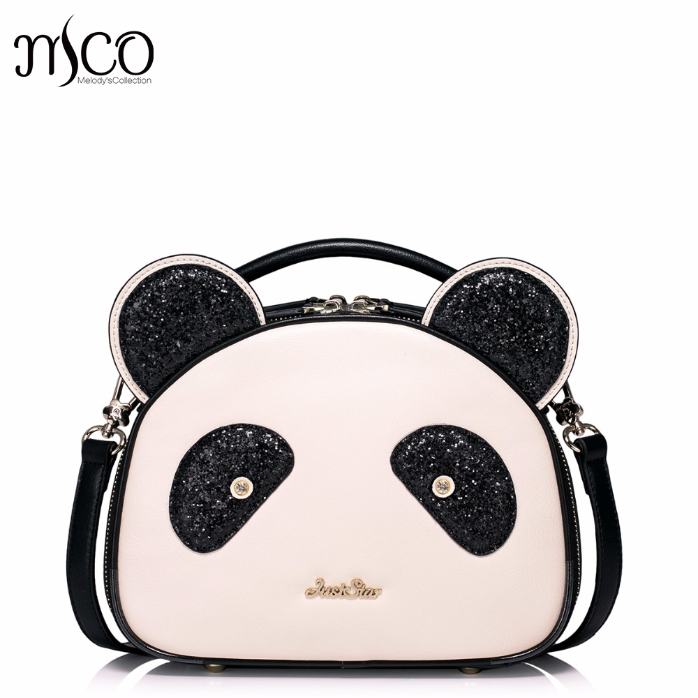 Brand Design Fashon Cute Cartoon Panda PU Leather Women Handbag Shoulder Bag For Teens Girls Gifts bags ladies bolsos