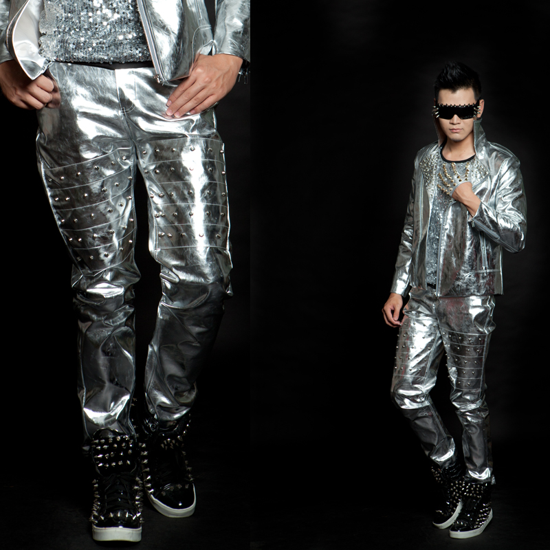 Stage Costume Nightclub Hip Hop Silver Rivet Pants Men DJ DS Gogo Dancer Outfit Glossy Performing Clothing For Singers DNV10482