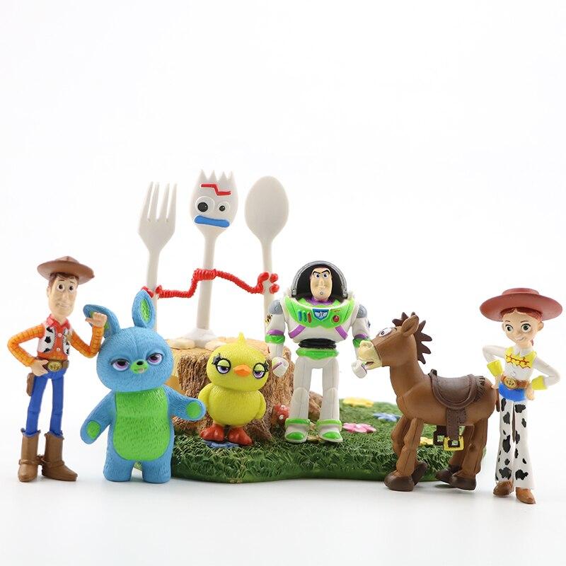 3/7/9/10/17 pçs/set Toy Story 4 Dom Coleção Boneca de Brinquedo Dos Desenhos Animados do Filme de Ação figura Buzz Lightyear Woody Jessie Lotso Brinquedo Do Cavalo