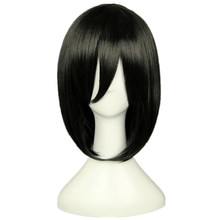 Ataque em titan mikasa ackerman curto bob preto resistente ao calor cosplay traje peruca