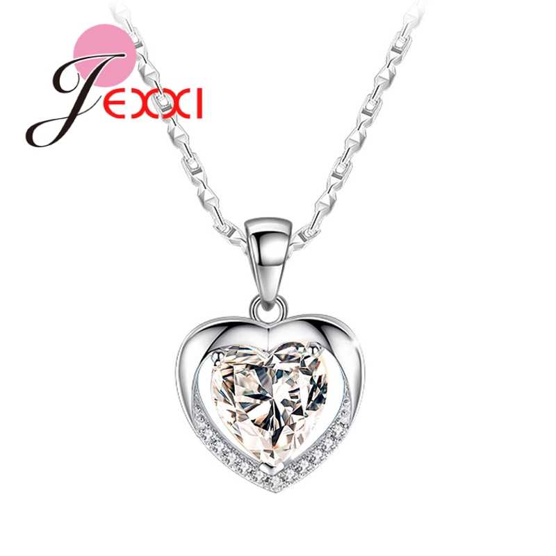 925 Sterling Silver Bridal Jewelry Heart Shape Pendant Necklace Chain Clear Crystal   For Wedding Party Birthday Gifts