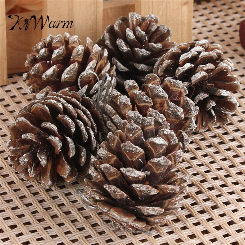 9pcs/lot Newest Christmas Tree Pine Cones Hanging Pinecone Xmas NewYear Holiday Party Decoration Ornament Home Parties Supplies