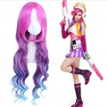 Anime League of Legends LOL Miss Fortune Cosplay Wig,three colors Pink purple blue colorful ombre synthetic hair peruca