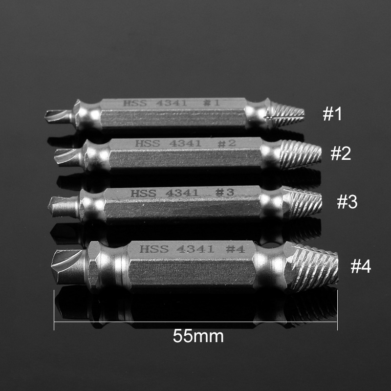 4Pcs Screw Extractor Drill Bits Guide Set Broken Damaged Bolt Remover Double Ended Damaged Screw Extractor 1# 2# 3# 4# 5pcs set screw extractor drill bits guide broken damaged bolt remover drop shipping sale
