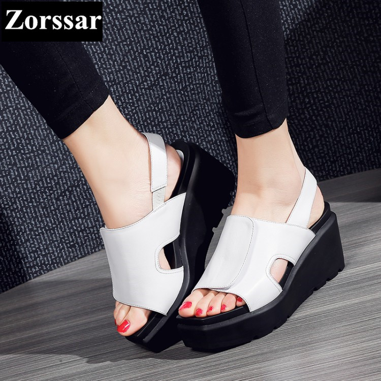 {Zorssar} Brand 2017 NEW Summer Genuine leather Womens Casual wedges sandals high heels platform Open Toe Flip Flops women shoes woman fashion high heels sandals women genuine leather buckle summer shoes brand new wedges casual platform sandal gold silver