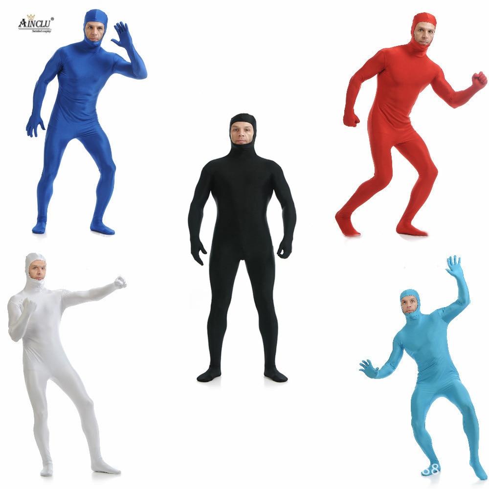 Ainclu Mens Kids Spandex Nylon Lycra Zentai Body Second Skin Tight All-inclusive Open Face Dancewear Costume Hallween Bodysuit