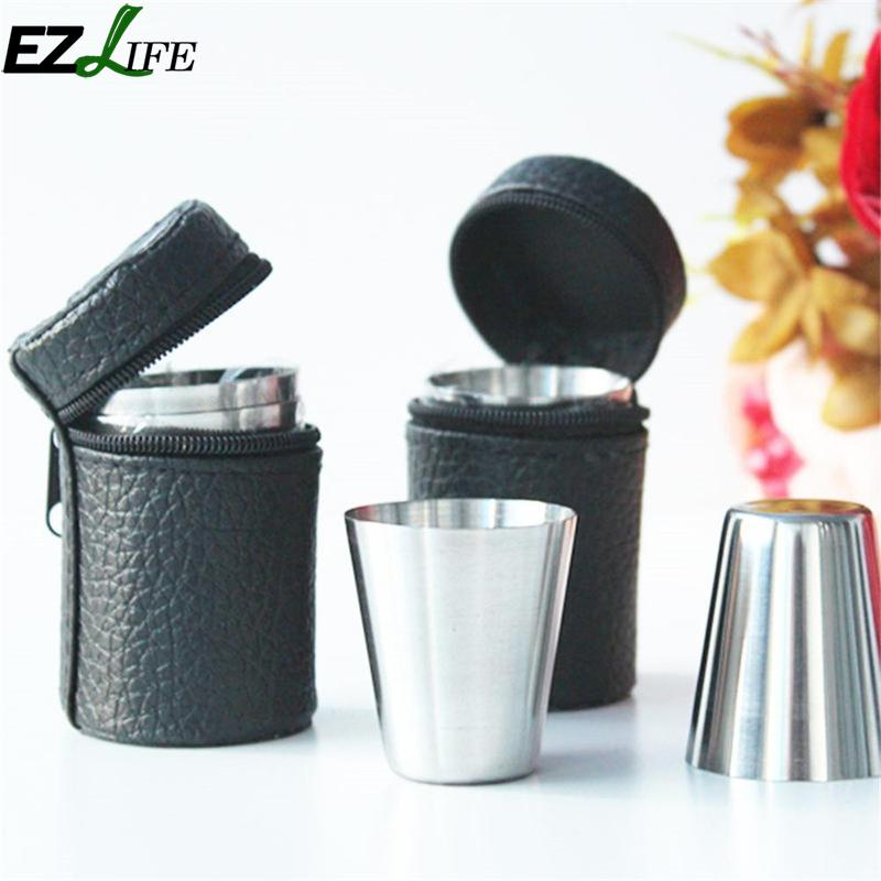 EZLIFE 4 Pcs Stainless Steel Cup With A Cup Leather Case Mini Portable Wine Whisky Cup Camping Travel Accessories CRM5916
