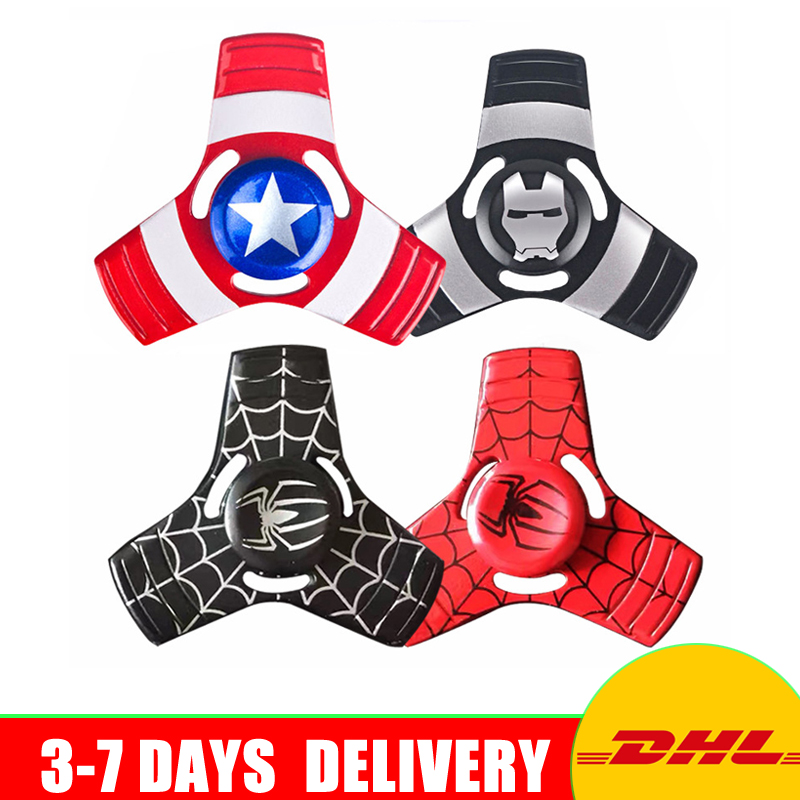 Avengers Stars Ironman Spiders Shape Alloy Metal Fidget Hand Spinner Toys For ADHD 5 Styles Mixed
