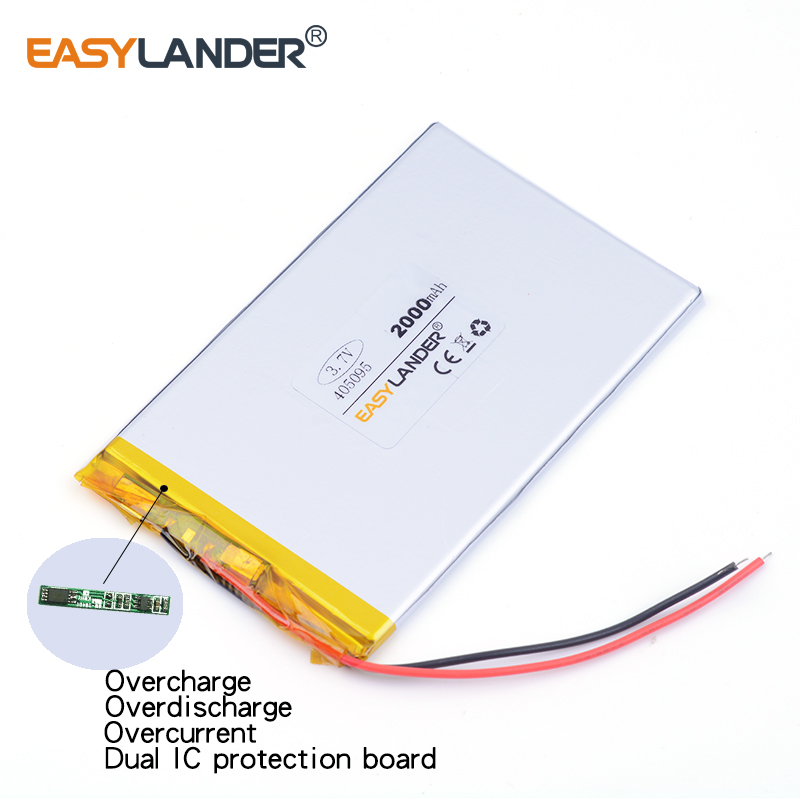 10pcs /Lot 3.7v lithium Li ion polymer rechargeable battery 405095 2000MAH For tablet pc power bank PAD PSP E-book andorid phone
