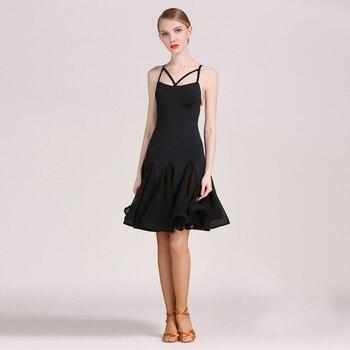 f9e1599a Vestido Latino negro para mujer sin mangas de baile de salón de baile ropa  de práctica de Tango Cha Samba Salsa Rumba Ropa de baile DC1979