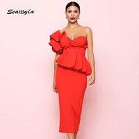 Seamyla New Summer Party Dress One Shoulder Ruffle Dresses 2018 Women Sexy Flounce Midi Elegant 2 Two Piece Club Bodycon Dress