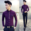 Luxury Wedding Dress Shirts New 2016 Spring Mens Clothing Mens Stylish Prom Party Camisa Hombre Vetement Homme maillot Purple