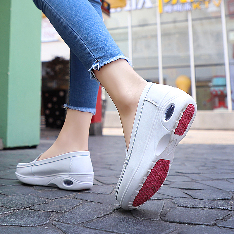 Breathable Women Platform Shoes Comfortable Damping Height Increasing Nurse Shoes Brand Cushioning Women Loafers Shoes With Fur in Women 39 s Flats from Shoes