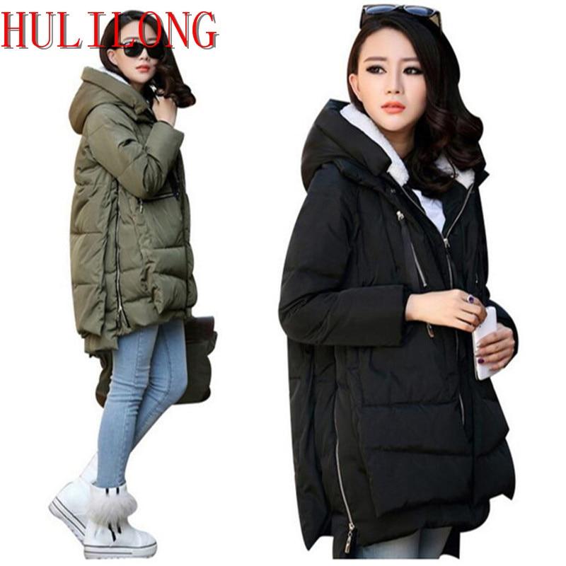HLL Winter Jacket Women 2017 New Europe Style Fashion Loose Medium Long Autumn Winter Plus Size Down Parkas Lady cotton Coat Hot стоимость