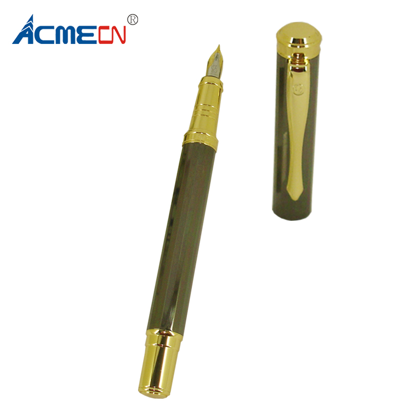ACMECN Unisex Diamond Pattern Fountain Pen Slim Metallic Grey Metal with Gold Accent 0.5mm Signature for Christmas Gifts