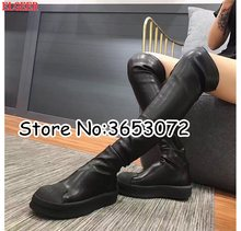 Rome Black White Leather Round Toe Women Over the knee Long Boots Stretch Fit Slip-on Lady Flats Thigh High Boots Shoes Woman(China)