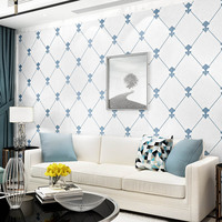 0.53M×9.5M Blue White Rhombus Non woven Wallpaper Living Room Background Wall paper Roll for Hotel Bedroom New