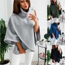 Women Loose Batwing Wool Poncho Winter Warm Coat Jacket Cloak Cape Parka Outwear