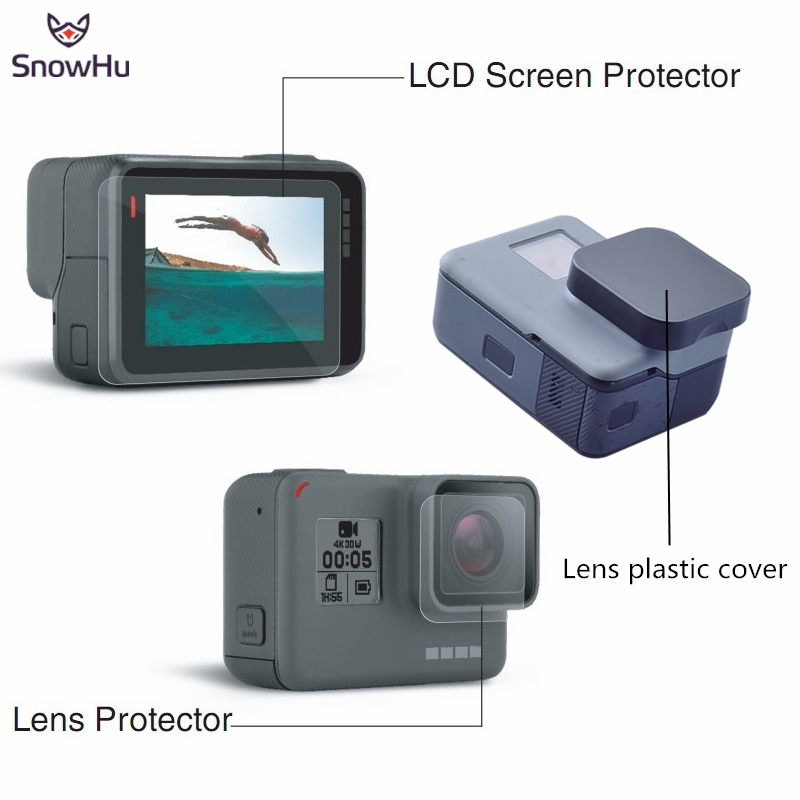 SnowHu 3 in 1 FOR Gopro hero 5 Accessories lens Screen Protector Cover Lens Protecive Film For Go pro hero 5 Camera LD14 go pro hero 4 3 accessories metal alloy protective case cover housing shell lens cover for gopro hero 43 camera accessories