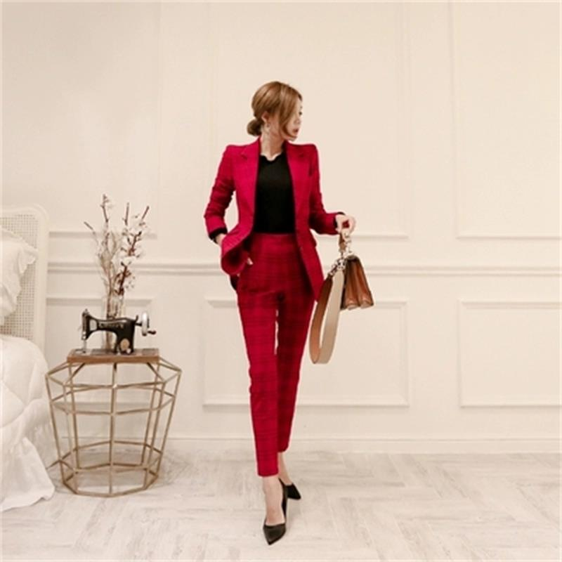 Fashion Red Plaid Suit Suit Female Spring New Casual Red Plaid Small Suit  +  Pants Two-piece Suit Women