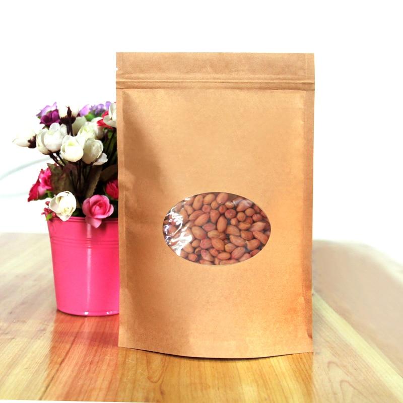 100pcs/lot 17cm*24cm+4cm*140Micron High Quality Kraft Paper Stand Up Pouch Bag Laminating Pouches