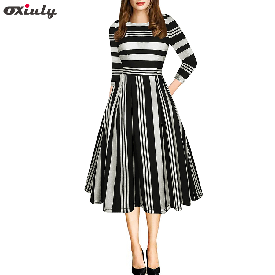 7de513bbf9b1f Oxiuly Elegant Black Red White Striped Patchwork Dress O-Neck Vestidos  A-Line Tunic Pinup Business Women Flare Swing Dress