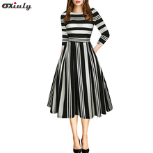 Oxiuly Elegant Black Red White Striped Patchwork Dress O-Neck Vestidos A-Line Tunic Pinup Business Women Flare Swing