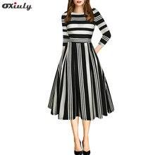 Женское платье в полоску oxiuly Элегантное черно Красное Белое