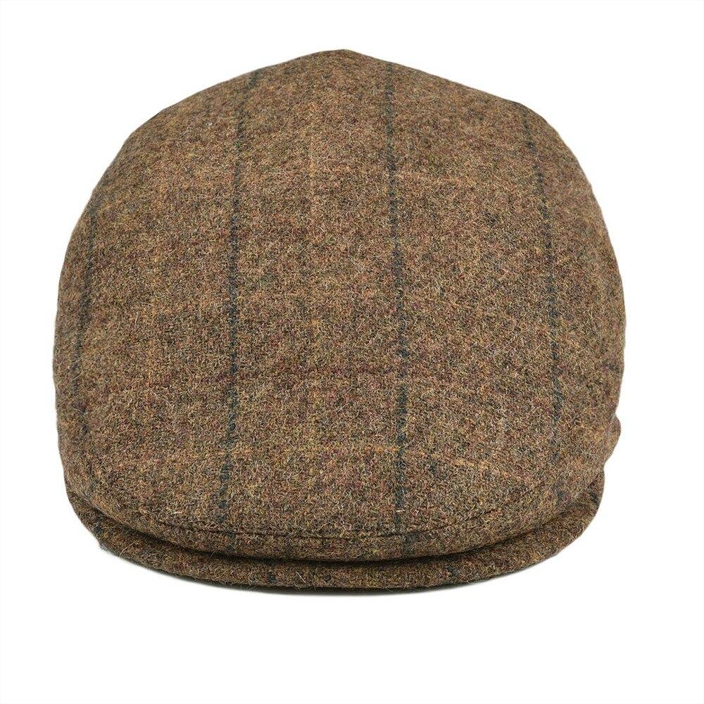 e3a0e998 BOTVELA 100% Wool Flat Cap Men Women Tweed Irish Herringbone Gatsby Hat  Golf Derby Newsboy Caps Brown with Black 002