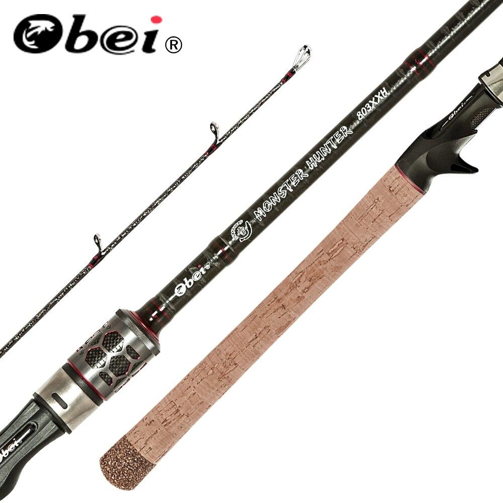 Obei monster hunter 803xxh fundição fiação vara de pesca de fibra de carbono 2.38m 20-80g potência catfish isca viagens vara de pesca