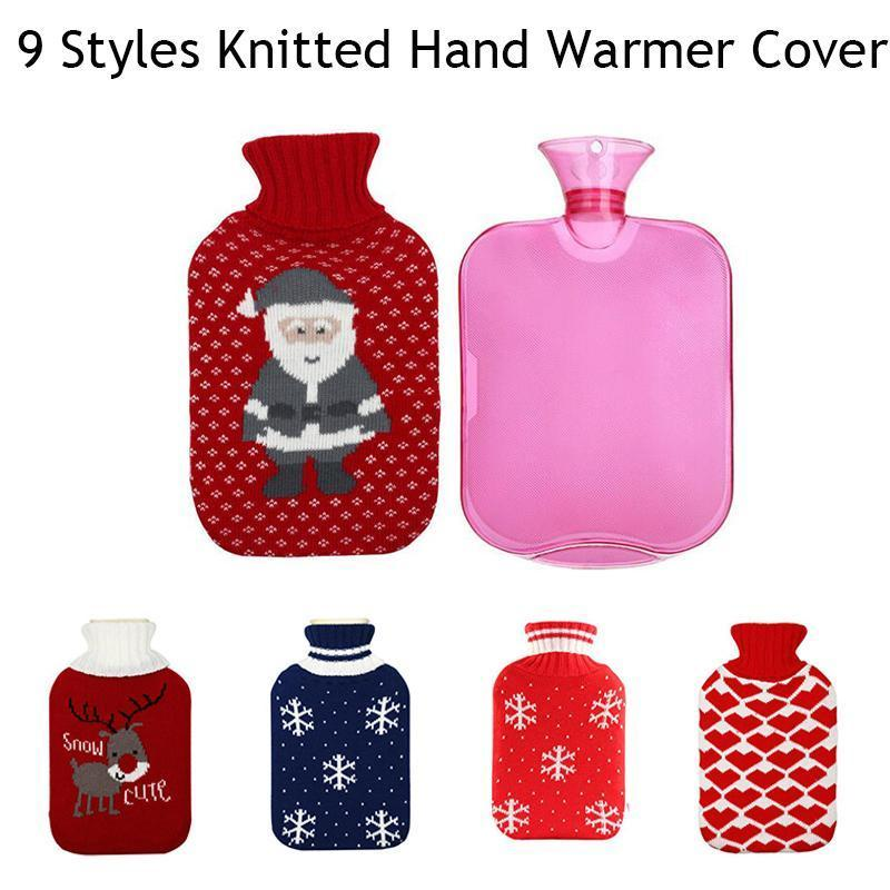 Winter Hand Christmas Warmers Lovely Cute Deer 2000ml Knitted Hot Water Bag Cover Heat Soft Knit Flannel Water Bottle Covers 3 hot winter beanie knit crochet ski hat plicate baggy oversized slouch unisex cap