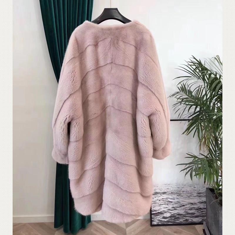 Gratuite À Fedex Hiver Long Femmes Plus Vison Blanc 2018 Femme De Manteau rose Taille Naturel Manteaux Real Fourrure Véritable qnZatw1
