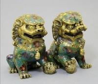 Азиатский Античная Статуя Льва, коллекция 1 пара из Китайский старый ручной перегородчатой Фу Собака Скульптура. Украшения дома ремесленны