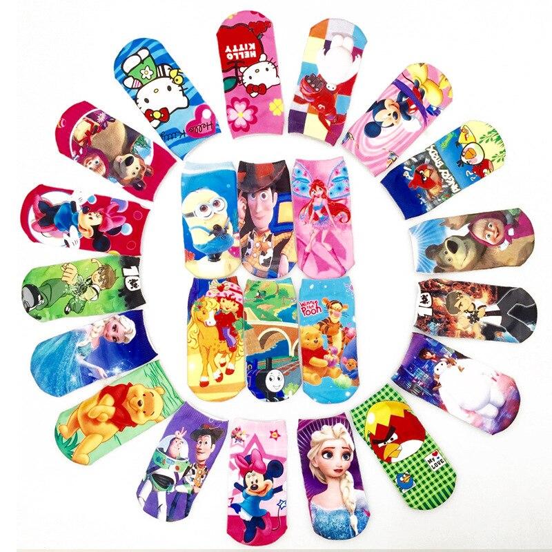 Kids Socks Boys Girls Cute Kitty Cartoon Sock Captain America Elsa Alice Princess Mesh 3D Print Children Sock Toys Winter худи print bar america