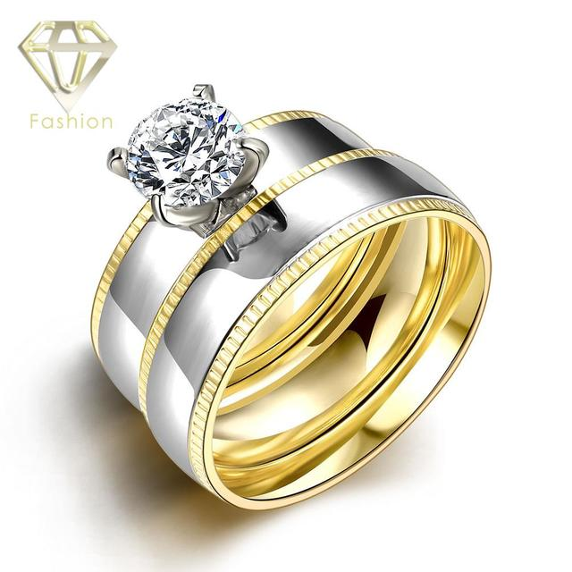 Engagement Rings Under 500 New Goldu0026White Gold Color 316L Stainless Steel 2  Laps Couple Ring