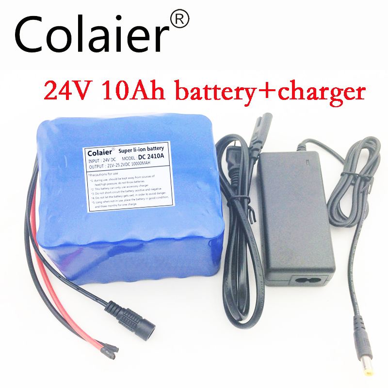 Colaier 24V 10Ah 6s5p lithium battery electric bicycle 18650 / 24 V (25.2V)Li ion battery + charger 1A + free shopping 3s li ion lithium battery battery protection board 10 8v 12 6v 18650 charger free shipping