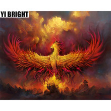 "YI BRIGHT DIY 3D Diamond Embroidery,Cross Stitch,""Fire Rebirth Secular Phoenix"" Full Square&Round Diamond Painting,Home Decor,GT(China)"