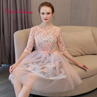 2019 Cocktail Dresses A Line Scoop Collar Floral Printed Custom made Half Sleeves Lace Knee Length Cocktail Party Gown