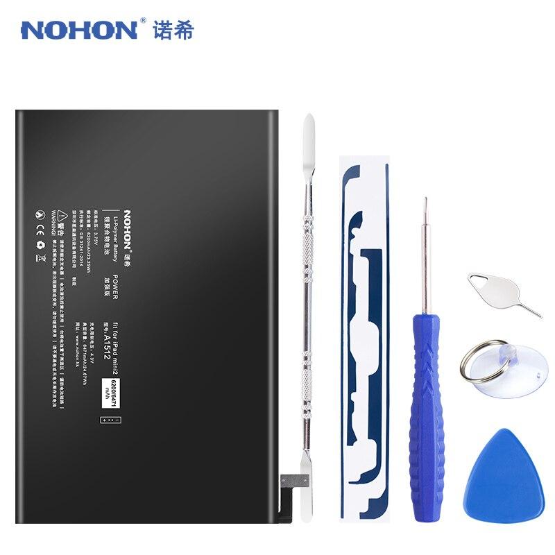 D'origine NOHON A1512 Batterie Pour iPad Mini 2 Mini2 Mini 3 A1489 A1490 A1491 A1599 6471 mAh Au Lithium Polymère Bateria outils gratuits