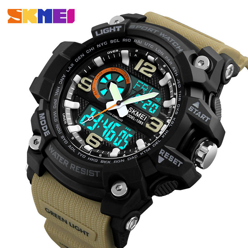 цена на SKMEI Fashion Sports Multifunction Outdoor Men's Watches Dual Display Digital Quartz Chronograph Wristwatches Relogio Masculino