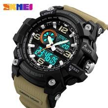 SKMEI moda sport wielofunkcyjny odkryty zegarki męskie podwójny wyświetlacz cyfrowy kwarcowy z chronografem na rękę Relogio Masculino
