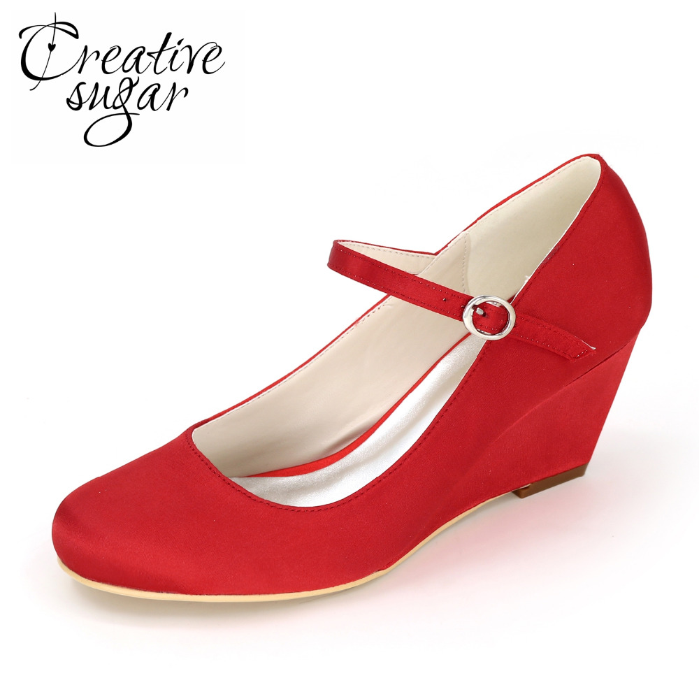 ФОТО Creativesugar concise woman dress wedges middle heel pumps beach wedding party bridal shoes strap royal blue white ivory red