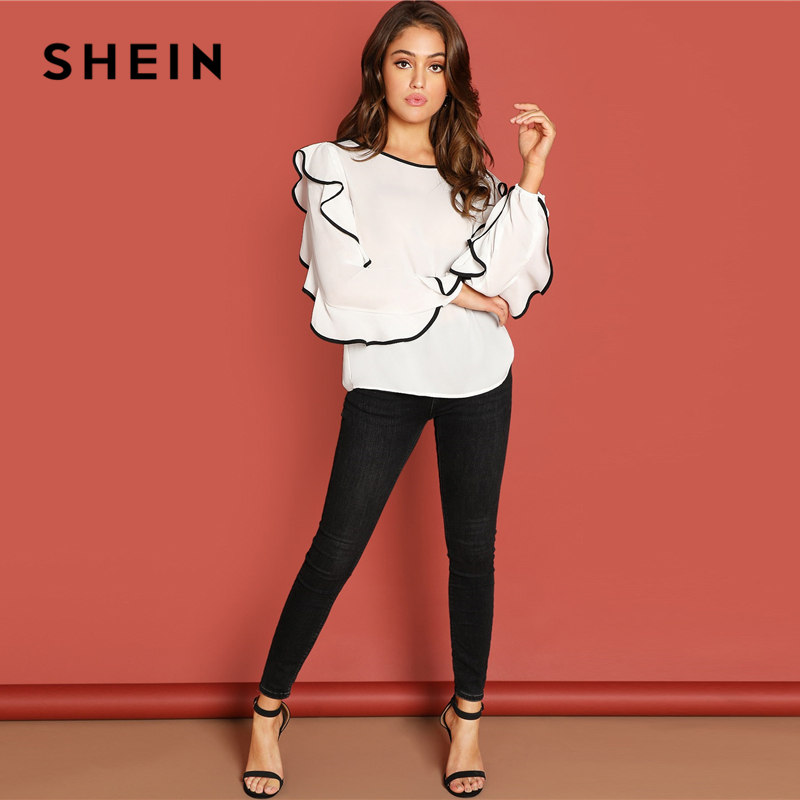 3f76587ee90 SHEIN White Ruffle Detail Tunic Top Elegant Weekend Casual Long Sleeve  Pullover Women Autumn Plain Minimalist Tops And Blouses-in Blouses & Shirts  from ...